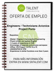 #Empleo #Engineers / Technicians #Avionics Project en #Porto