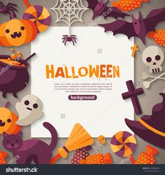 Halloween Background. Vector Illustration. Flat Halloween Icons With Square…