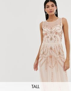 Buy Amelia Rose Tall embellished sleeveless maxi dress in soft peach at ASOS. With free delivery and return options (Ts&Cs apply), online shopping has never been so easy. Get the latest trends with ASOS now. Floral Midi Dress, Tulle Dress, Lace Dress, Prom Dress, Frock And Frill, Maxi Dress With Sleeves, Dress With Bow, Asos, Printed Bridesmaid Dresses