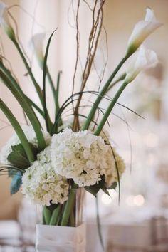 White Hydrangea Wedding Centerpiece with calla lilies.