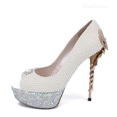 Shoespie Pearl Decorated Peep-toe Bridal Shoes