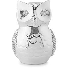 Silver Owl Money Box ($11) ❤ liked on Polyvore featuring home, home decor, small item storage, silver home accessories, silver piggy bank, silver home decor, owl bank and owl piggy bank