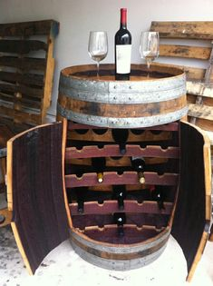 DIY wine racks and wine stands # Whiskey Barrel Bar, Whiskey Barrel Furniture, Wine Rack Design, Cellar Design, Home Wine Cellars, Wine Stand, Barrel Projects, Wooden Projects, Wine Storage