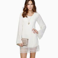 nova moda gola redonda rendas hem vestido de chiffon solta das mulheres - BRL R$ 64,95