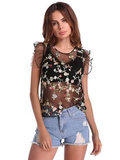 Sexy Floral Embroidered See-through O-neck Sleeveless Women T-shirt e2dda3851e3eb