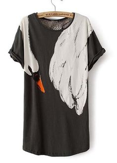 Hot Sale Round Neck Swan Print Tees for Lady | Rosewe.com