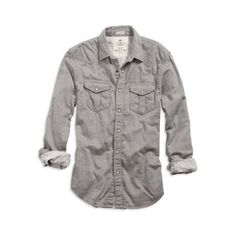 AE Men's Double Weave Western Grey Shirt (Grey) ($30) ❤ liked on Polyvore