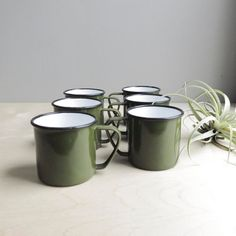 olive green enamel cup set / camp mug set of six via Etsy
