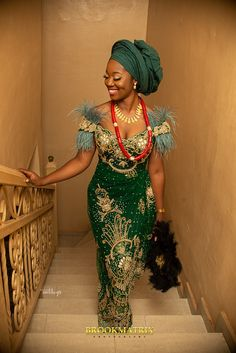 The Igbo traditional wedding took place in the bride's hometown – Owerri in Imo State and it was a sight to behold African Lace Styles, African Lace Dresses, Latest African Fashion Dresses, Nigerian Fashion, Nigerian Dress Styles, Nigerian Wedding Dresses Traditional, Traditional Wedding Attire, Traditional Outfits, African Wedding Attire
