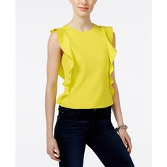 Bar Iii Sleeveless Ruffle-Detail Scuba Top ($35) ❤ liked on Polyvore featuring tops, electric comboitronitron, frilly tops, frill top, ruffle top, yellow top and sleeveless tops