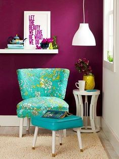 Cheery corner. Deep magenta paired with bright teal makes this reading corner cheerful and fun. Let the bright colors pop by using white accents and simple decor, such as the hanging pendant light that takes the place of a reading lamp, giving more room for your weekend reads.
