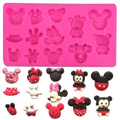 1 x Various Forms of Mickey and Minnie Silicone Mold Mold Size: 16.6 cm x 9.2 cm x 1.3 cm (W X L X D) Material: Silicone Temperature: -40° ~ +230° ★ Easy to clean ★ Food Safe, FDA Approved ★ Can be us