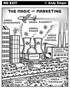 This political cartoon, really makes you think about how much branding convinces us we are making a difference, but until behavior changes nothing else will.