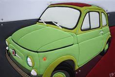 """Sculture Vestite di Stefano Bressani """"Fiat 500 Green Majestic"""" 50x75x8 cm - 2012 Opera n° 179 All right reserved © (Private Collection)"""