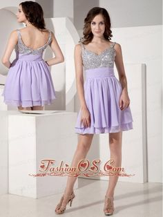 Exquisite Lilac Empire Strap Evening Dress Chiffon Beading Mini-length  www.fashionos.com    Show off those beautiful arms and shoulders in this amazing short beaded dress. A beautiful sleeveless short dress featuring a shiny beaded bodice with a sweetheart neckline. A wide band at the waist gathers the layered chiffon fabric that cascades down to create a flirty loose fitting layered A-line skirt.