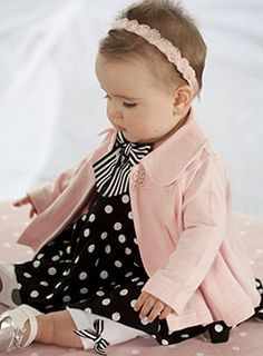 pink swing coat + b polka dots + b striped bow + white leggings with striped bow + mary janes + rosette headband. Yes.