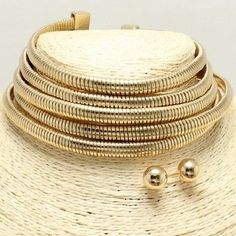 """11"""" gold 5 row multi layer coil choker bib collar necklace earrings 1.75"""" wide"""