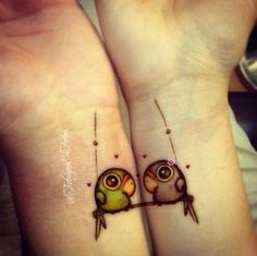 parrot couple love tattoo...  #dig