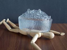 Ouch! Wood mannequin abuse! Vintage Iittala Ultima Thule Bowl Tapio by EightMileVintage
