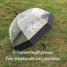 Mr and Mrs Umbrella, Wedding Umbrella, Rain Umbrella, Monogram Umbrella, Clear Umbrella, Bubble Umbrella, Photo Props, Engagement Props by customvinylbydesign on Etsy