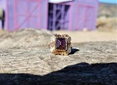 Antique Engagement Ring Rose Cut Garnet Engagement Ring