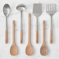 We collaborated with award-winning Food Network star Giada De Laurentiis to design a line of cooking tools inspired by the classic Italian kitchen. Modeled after Giada's favorite tools, this collection pairs stainless steel with smooth beech wood. Cooking Utensils Set, Kitchen Utensil Set, Cooking Tools, Cooking Pasta, Cooking Wine, Copper Kitchen, Kitchen Tools, Kitchen Gadgets, Kitchen Things