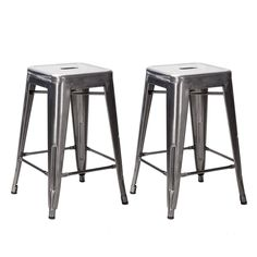 OCC Set of 2- Tolix style Backless Metal Industrial Stack Counter Height Stool- Stackable Metallica Cafe Counter Stools- Gunmetal: Amazon.ca: Home & Kitchen