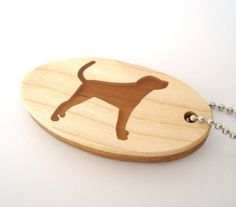 Coonhound Dog Key Chain Wood Scroll Saw by OohLookItsARabbit
