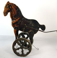 Antique Gibbs Wooden Horse Push Toy Without Original Handle | eBay