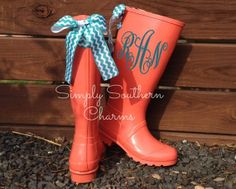 Items similar to Coral, Rain Boots, Aqua, Bows, Monogram on Etsy Sock Shoes, Cute Shoes, Preppy Style, My Style, Custom Bows, Boating Outfit, Hunter Boots, Rubber Rain Boots, What To Wear