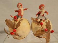 pair of Heubach kids on snowball candy containers, German Antique Christmas Ornaments, Victorian Christmas, Vintage Ornaments, Christmas Tree Decorations, Holiday Candy, Christmas Candy, Halloween Candy, Snowball Candy, 25 Days Of Christmas