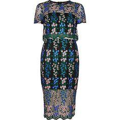 Zwarte geborduurde jurk met bloemenprint - bodyconjurken - jurken - dames