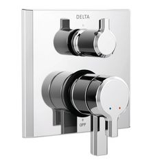 Create a bold, modern statement to your bath space by selecting Delta Pivotal Handle Wall-Mount Setting Integrated Diverter Trim Kit in Chrome. Shower Rod, Shower Valve, Bathtub Shower, Shower Faucet, Shower Diverter, Kitchen Pulls, Rainfall Shower, Contemporary Bathrooms, W 6