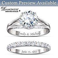Diamonesk Personalized Bridal Ring Set, Yes Really