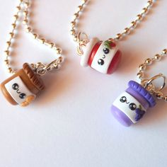 A set of three best friend necklaces of peanut butter, grape jelly and strawberry jam jars. Made to order for you and your friends or Bff Necklaces, Best Friend Necklaces, Friendship Necklaces, Cute Necklace, Polymer Clay Kawaii, Polymer Clay Charms, Sister Jewelry, Friend Jewelry, Three Best Friends