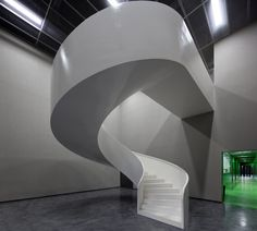 This staircase connects the front office to the factory floor of an olive oil mill in Portugal.