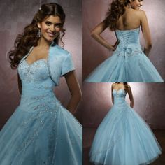 Free Shipping New Light Sky Blue Crystals Long Prom Dresses Lace up Graceful Sweetheart Quinceanera Dresses/Gown For 15 Years $159.00