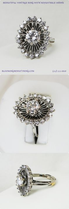 engagement rings vintage bling A unique and GORGEOUS vintage diamond fashion or right hand ring with an adjustable ring size shank. Unusual Wedding Rings, Unusual Engagement Rings, Popular Engagement Rings, Deco Engagement Ring, Vintage Engagement Rings, Diamond Engagement Rings, Antique Diamond Rings, Vintage Diamond, Right Hand Rings