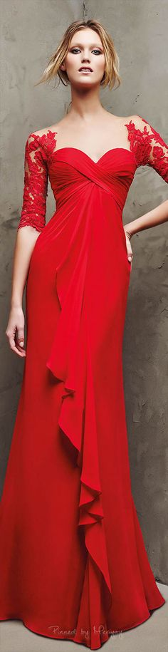 Pronovias ~ Red Lace Sleeves Gown 2016