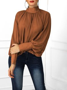 Lantern Sleeve Wide Cuff Ruched Blouse - Women's style: Patterns of sustainability Traje Casual, Big Girl Clothes, Dressy Tops, Womens Fashion Online, Pattern Fashion, Blouses For Women, Autumn Fashion, Fashion Dresses, Glamour