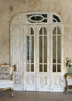 - English Country Antiques - Set of French C Doors with Mirrors Vintage Doors, Antique Doors, Old Doors, Bedroom Doors, Master Bedroom, Modern Door, Space Architecture, Closet Doors, Old World