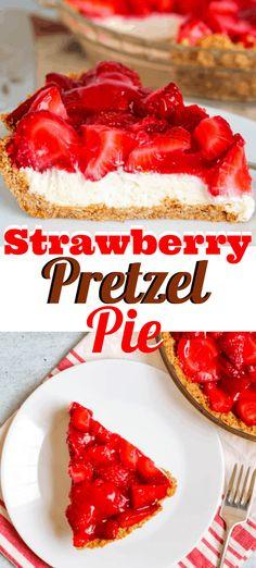 strawberry pretzel dessert Strawberry Pretzel Pie - a salty pretzel crust, a creamy cheesecake layer and a fresh strawberry gelatin topping. If you love Strawberry Pretzel Salad, you adore this recipe! Tolle Desserts, Köstliche Desserts, Homemade Desserts, Delicious Desserts, Yummy Food, Health Desserts, Plated Desserts, Strawberry Pretzel Pie, Strawberry Dessert Recipes