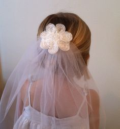 First Communion Veil w/single flower by veilsbybbrophy on Etsy, $25.00