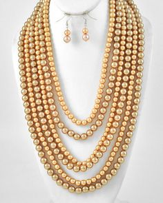 Chunky Gold Layered Beads Faux Pearl 6 Strand Statement Necklace & Earrings Set #Jewelry #Deal #Fashion