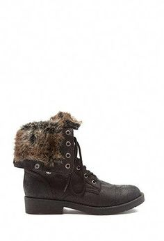 Faux Fur-Lined Combat Boots Black Combat Boots, Mid Calf Boots, Shop Forever, Forever 21, Cute Boots, Clothes For Sale, Hiking Boots, Faux Fur, Bootie Boots