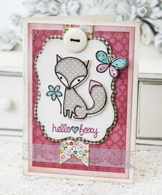 Hello Foxy Card by Melissa Phillips for Papertrey Ink (March 2013)