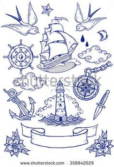Set of vector illustrations on the theme of sea travel in tattoo style.Tattoo-art design. New traditional tattoo style. Hand-drawn vector images.Easy to edit. EPS8 file. Vintage colors.