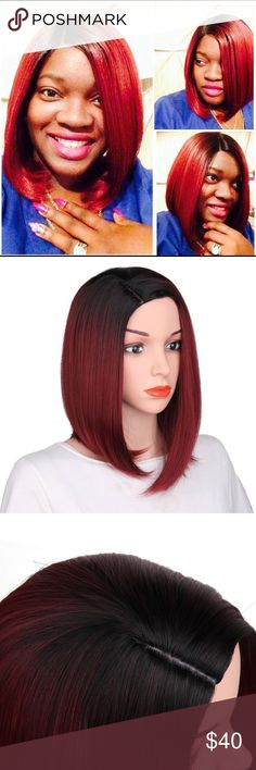 New! Bob Synthetic Short Ombre Wig Fast shipping! New In Package! And tags Bob Wigs Synthetic Short Straight Wig  Color: red/black roots Wigs Fully wig   Hest Resistant Fiber  Smoke free and pet free home! Other