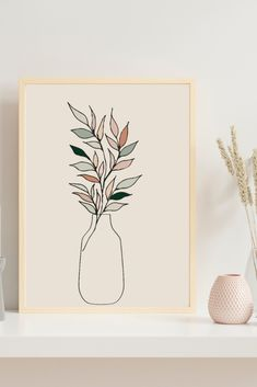 Line Art Flowers, Flower Line Drawings, Cactus Photography, Abstract Flower Art, Cactus Wall Art, Digital Print, Modern Art Prints, Minimalist Art, Easy Drawings
