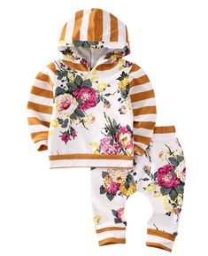 Girls' Baby Clothing Mother & Kids Autumn Winter Floral Rabbit Ear Hooded Baby Boy Girl Clothes Set Long Sleeve Cotton Sweatshirt Top+pants Baby Clothing Christmas Sophisticated Technologies